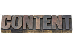 Content word in wood type Royalty Free Stock Images