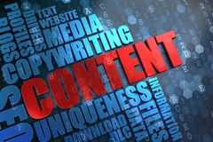 Content - Wordcloud Concept. Content - Red Main Word with Blue Wordcloud on Digital Background royalty free illustration