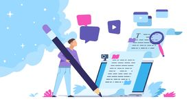 Content writer. Blog articles creation concept with people characters, freelance work business and marketing. Vector