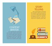 Content writer and story telling papers and articles. Vector set of banners with information lamp with notebook and pen pile of books with feather and ink royalty free illustration