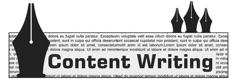 Content Writing Block Vertical Pens Stock Image