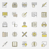 Content writing icons. Vector colorful typewriting, blogging copywriting concept symbols royalty free illustration