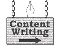 Content Writing Signboard. Content writing concept image with text on signboard hanged with chains stock illustration