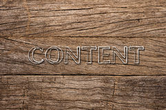 Content written over wooden background Royalty Free Stock Photos