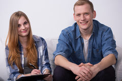 Content young pair changing flat Royalty Free Stock Images