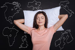 Content young woman sleeping on the pillow Stock Images