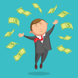 Contented businessman is jumping among the dollars Royalty Free Stock Photos