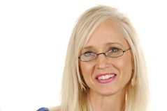 Contented businesswoman. A contented blond business woman Royalty Free Stock Photos