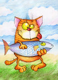 Contented cat holding  very big fish Royalty Free Stock Photography