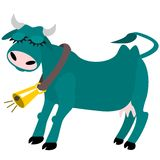 Contented cow with bell Stock Photo