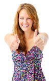 Contented woman with two thumbs up Royalty Free Stock Photo