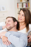 Contented young couple relaxing together Royalty Free Stock Photo
