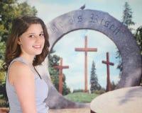 Contentissimo con il messaggio di Pasqua Fotografia Stock Libera da Diritti