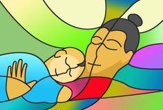 Contently het slapen van moeder en kind Stock Foto's