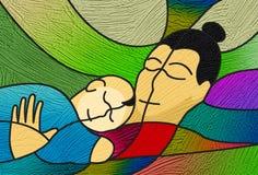 Contently het slapen van moeder en kind, het schilderen textuur Royalty-vrije Stock Foto's