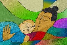 Contently het slapen van moeder en kind, het schilderen textuur Royalty-vrije Stock Fotografie