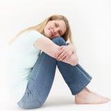 Contentment pokazywać ładną blondynki dziewczyną obraz royalty free