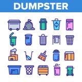 Contentor, linha fina grupo do recipiente do lixo dos ?cones ilustração stock