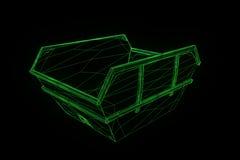 Contentor no estilo de Wireframe do holograma Rendição 3D agradável Imagens de Stock Royalty Free