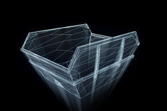 Contentor no estilo de Wireframe do holograma Rendição 3D agradável Imagem de Stock Royalty Free