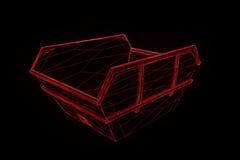 Contentor no estilo de Wireframe do holograma Rendição 3D agradável Fotos de Stock