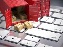Contentor vermelho do frete da carga no teclado de computador Conceito logístico de transporte de carga Imagem de Stock