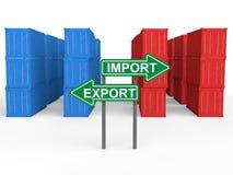 contentores 3d com placa do sinal da exportação da importação Fotografia de Stock