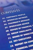 Contents in annual report. Generic content page of an annual report Stock Image