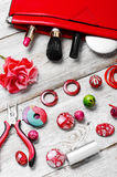 Contents of the bag craftswomen Royalty Free Stock Photography