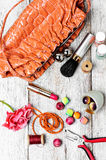 Contents of the bag craftswomen Stock Image