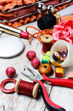 Contents of the bag craftswomen Stock Images