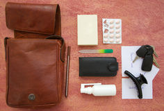 The contents of a bag Royalty Free Stock Photos