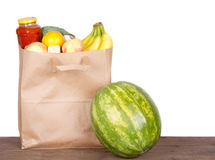 Contents of a brown paper shopping bag Royalty Free Stock Image