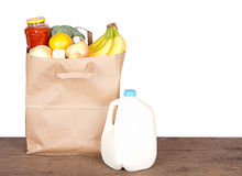 Contents of a brown paper shopping bag Stock Photography