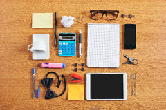 The contents of a business workspace organized and composed. Stock Photos