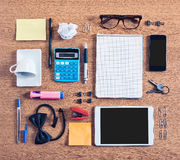 The contents of a business workspace organized and composed. Royalty Free Stock Photos