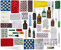 Contents of the home first-aid kit royalty free stock photos