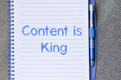 Contents is king write on notebook Stock Image