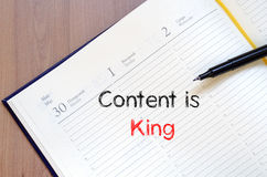 Contents is king write on notebook Royalty Free Stock Photography