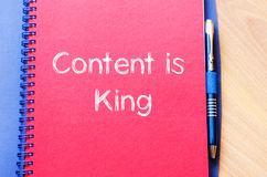 Contents is king write on notebook Royalty Free Stock Images
