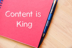 Contents is king write on notebook Stock Images
