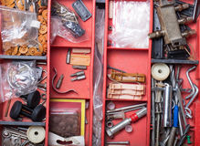 The contents of the old toolbox. Top view Stock Images