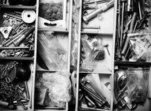 The contents of the old toolbox. Top view. Toned Stock Image