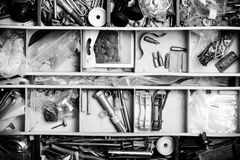 The contents of the old toolbox. Top view. Toned Stock Photos