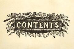 Contents title design Stock Photos