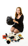 Contents of womans hand bag Stock Photos