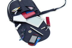 The contents of women`s handbags Royalty Free Stock Photo