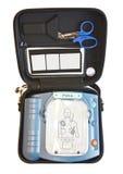 Contenu d'un AED, cadre de premiers soins Photographie stock libre de droits