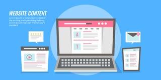 Contenu de site Web - page Web avec le contenu montrant sur les dispositifs numériques Bannière plate de vecteur de conception illustration stock