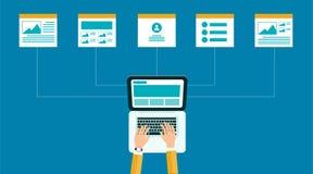 Contenu en ligne d'affaires structure et disposition de web design Photos libres de droits
